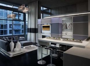 现代简约式吧台,在冷色调的客厅中设计一处简洁的吧台,完美体现出小资的格调和生活品味。,吧台,现代,小资,灯具,窗帘,墙面,紫色,白色,黑白,