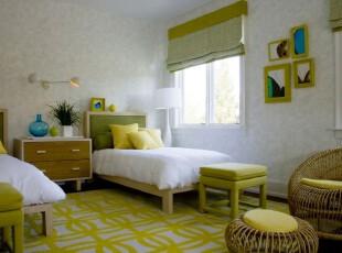 ,卧室,田园,简约,黄色,白色,