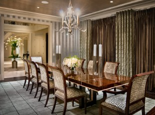 新古典餐厅,富丽堂皇。,餐厅,新古典,餐台,窗帘,灯具,墙面,原木色,黄色,