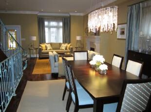 现代开放式餐厅,简单宜家。,餐厅,现代,餐台,窗帘,灯具,原木色,黑白,