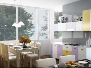 现代主义厨房和餐厅,明媚的阳光使白色的厨房显得简洁干净,富有个性色彩的橱柜则凸显出小资的格调。,厨房,餐厅,现代,小资,餐台,灯具,收纳,墙面,白色,紫色,黄色,蓝色,