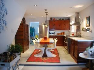 ,厨房,简约,欧式,红色,原木色,