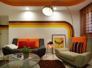 ,客厅,现代,简约,小资,红色,