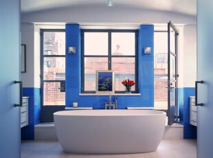 ,卫生间,地中海,蓝色,白色,