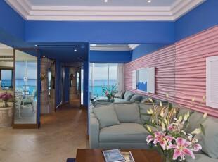 ,客厅,现代,简约,蓝色,红色,