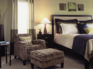 ,卧室,简约,蓝色,