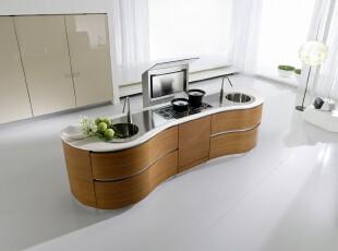 现代简约的开放式厨房,厨房,现代,简约,白色,原木色,