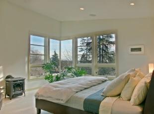 ,卧室,现代,简约,绿色,白色,