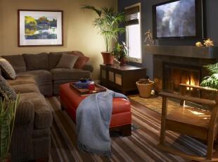 ,客厅,墙面,地台,欧式,原木色,红色,