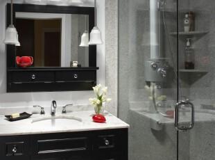 ,浴室,欧式,黑白,