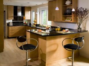 ,厨房,现代,原木色,黑白,