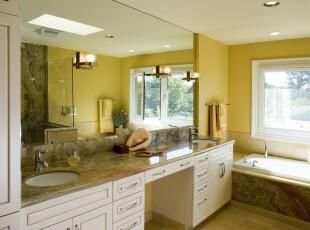 ,浴室,现代,白色,黄色,