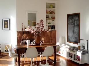 ,餐厅,墙面,现代,白色,原木色,