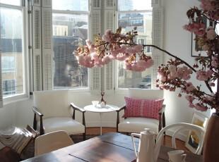 ,客厅,小资,中式,白色,粉色,原木色,