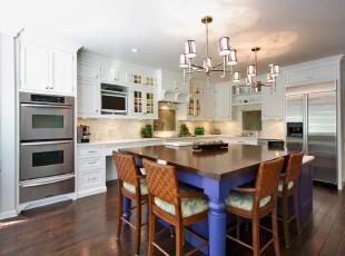 ,厨房,中式,现代,蓝色,原木色,白色,