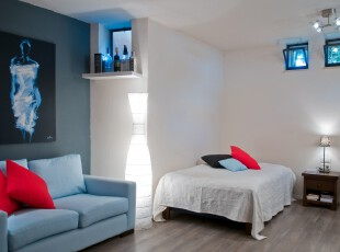 ,卧室,现代,简约,小资,蓝色,白色,