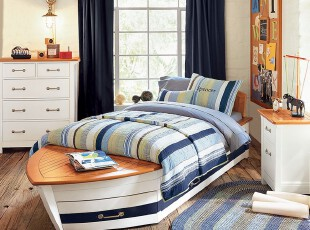 ,卧室,地中海,小资,蓝色,黑白,