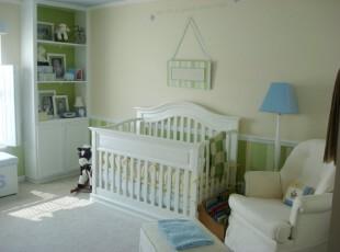 ,儿童房,欧式,白色,绿色,