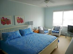 ,卧室,中式,蓝色,