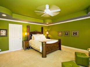 ,卧室,墙面,欧式,绿色,白色,原木色,