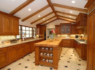 ,厨房,欧式,原木色,