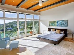 ,卧室,地台,现代,简约,黑白,黄色,