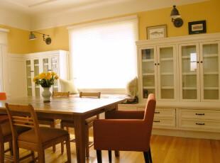 ,餐厅,墙面,餐台,中式,黄色,白色,原木色,