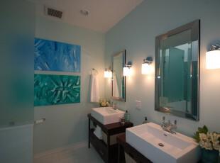 ,卫生间,现代,白色,蓝色,