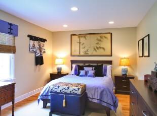 ,卧室,墙面,中式,紫色,白色,