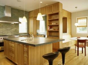 开放式的厨房,厨房,现代,简约,原木色,
