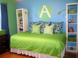 ,儿童房,现代,简约,宜家,绿色,蓝色,