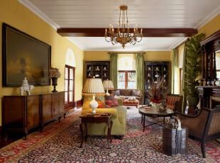 ,客厅,灯具,墙面,地台,欧式,绿色,黄色,