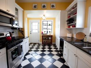 ,厨房,现代,宜家,简约,地台,黑白,黄色,
