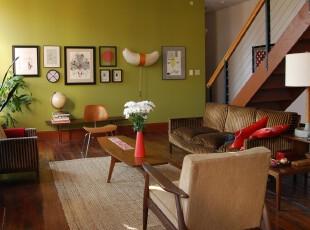 ,客厅,中式,绿色,原木色,