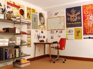 ,书房,工作台,墙面,现代,白色,黄色,