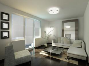 ,客厅,现代,白色,