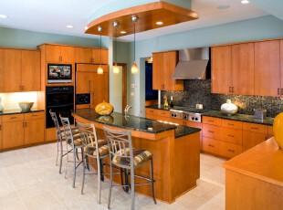 中式的风格厨房,在现代简洁诉求下,别有风味,厨房,吧台,中式,现代,原木色,黄色,