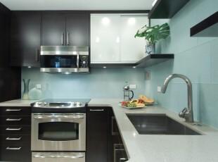 ,厨房,现代,黑白,蓝色,