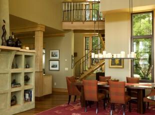 ,餐厅,楼梯,地台,灯具,欧式,黄色,红色,