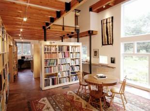 ,书房,工作台,地台,现代,原木色,