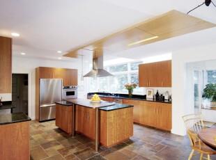 ,厨房,地台,地中海,现代,黑白,原木色,