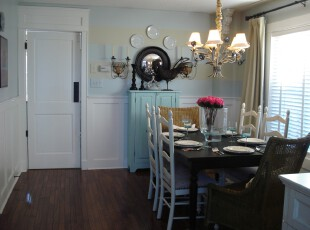 ,餐厅,餐台,灯具,墙面,窗帘,欧式,黑白,蓝色,