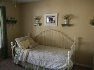 ,卧室,墙面,窗帘,欧式,田园,绿色,白色,