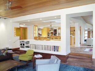 ,客厅,地台,简约,白色,蓝色,黄色,