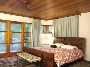 ,卧室,地台,窗帘,中式,原木色,