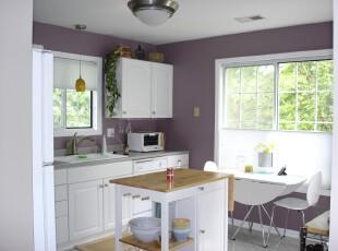 现代主义厨房,温馨,宜家。,厨房,餐台,收纳,现代,墙面,灯具,白色,紫色,