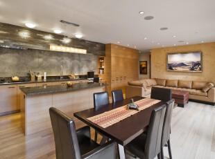 将原木色家具与灯光巧妙地配合起来,整个开放式餐厅更显贵气。,厨房,餐厅,现代,餐台,墙面,原木色,