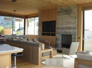 极具自然气息的现代风格客厅,入眼可见的树木和岩石元素,仿佛踏入林中一般。,客厅,现代,墙面,灯具,原木色,白色,