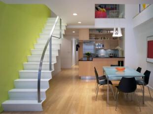 ,楼梯,现代,宜家,餐厅,绿色,白色,