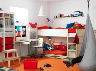 现代主义风格的儿童房,明亮的红色家具和橘色的地板给人欢乐的快感。,儿童房,现代,灯具,白色,红色,